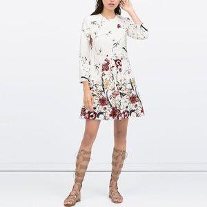 Zara floral print front pleat long sleeve dress